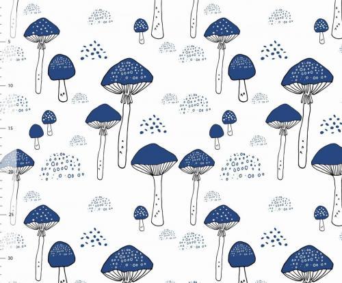 Blauwe paddenstoelen uit Zweden, 12,95 per meter. Ook in koperkleur